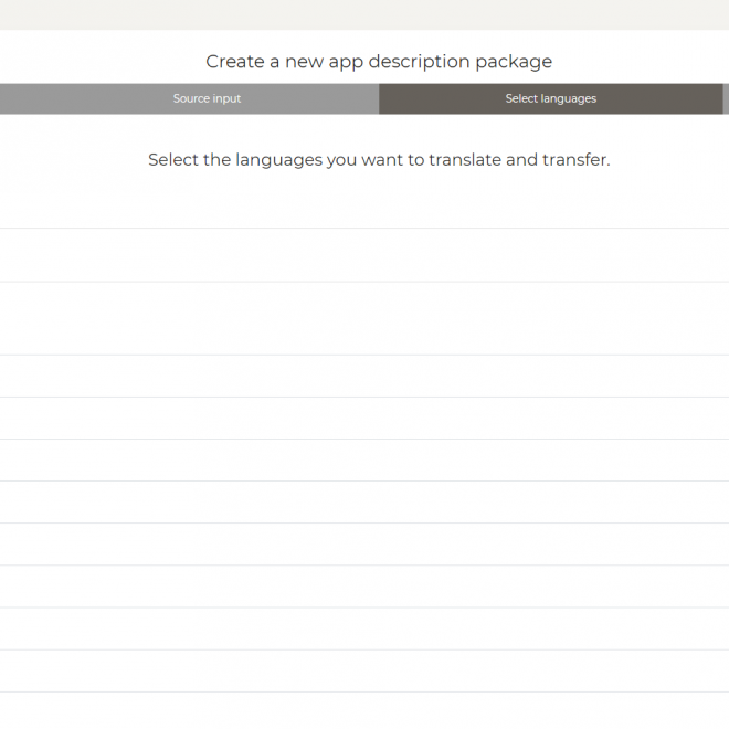 Select languages for  the automatic translation