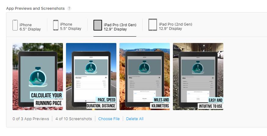 Screenshot upload at the App Store