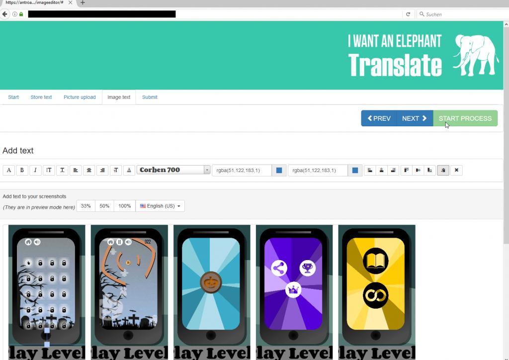 Online creating app screenshots