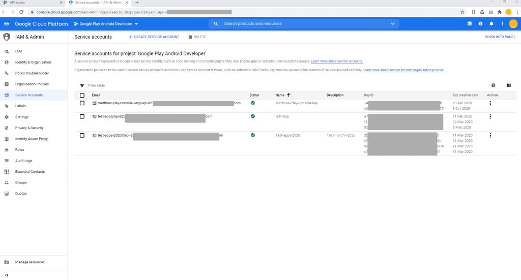 Set Google Play Access Google Cloud Platform