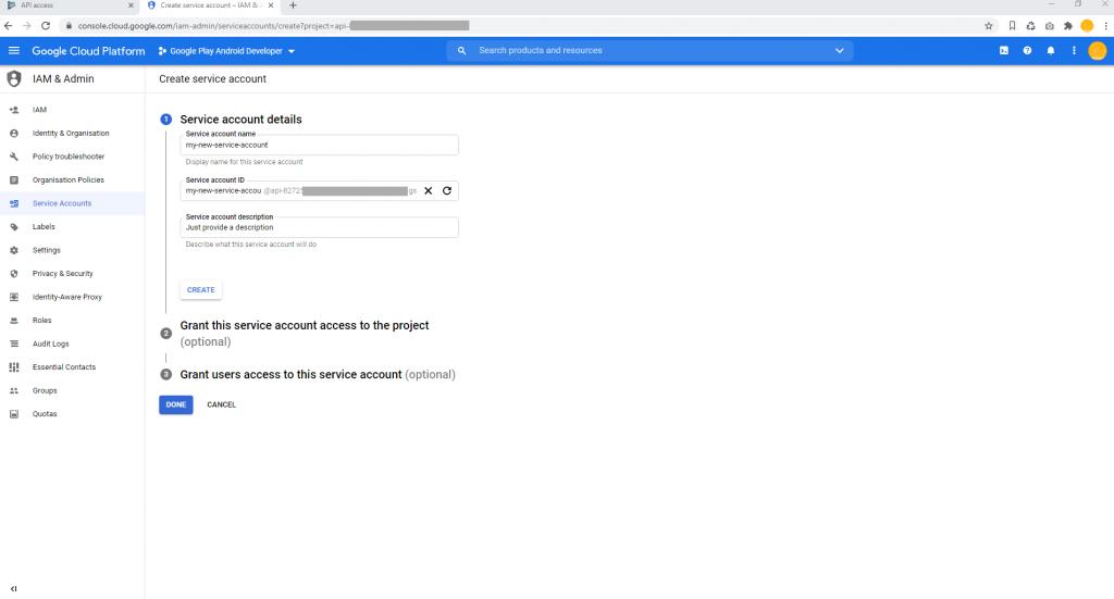Set Google Play Access Create Service Account