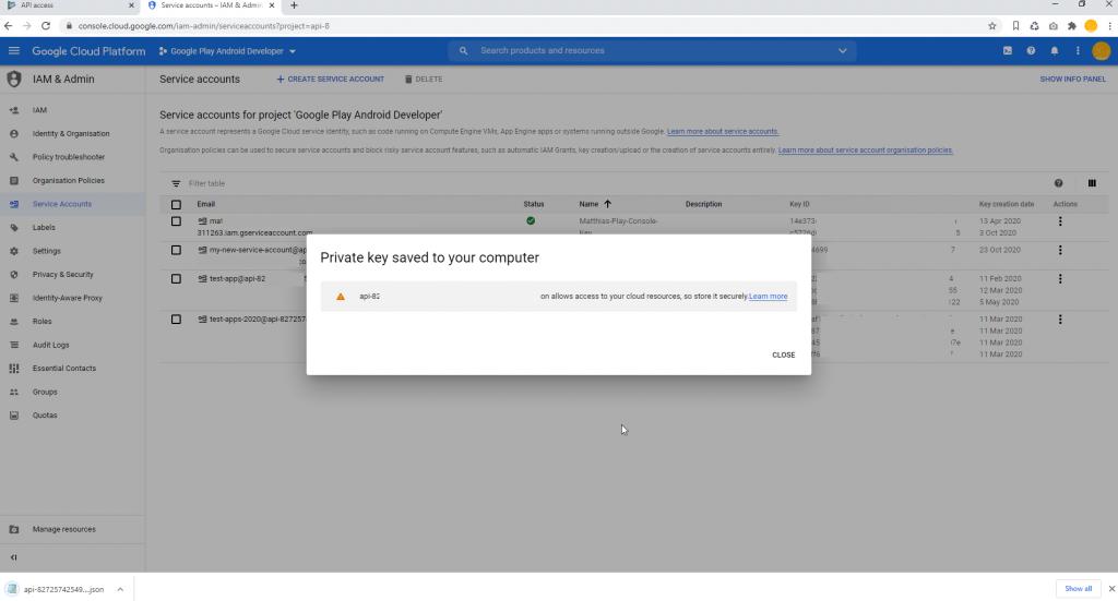 Set Google Play Access Download JSON