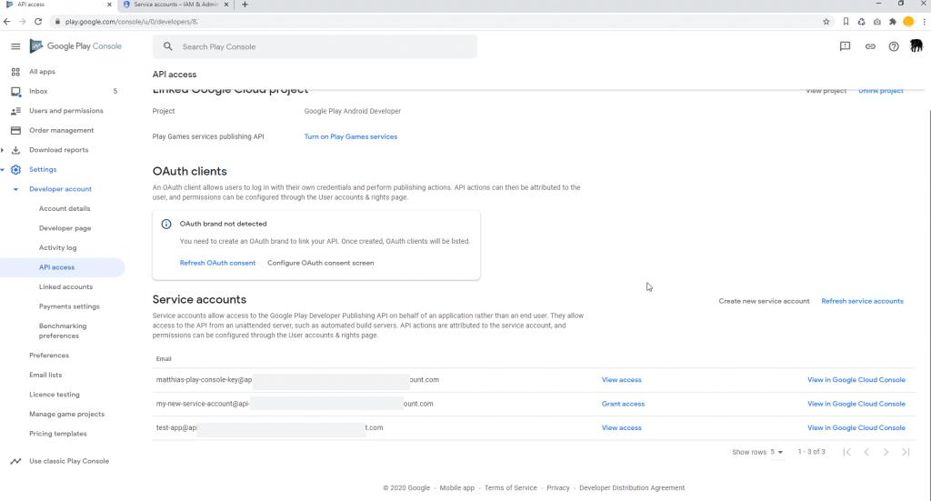 Set Google Play Access Service Accounts
