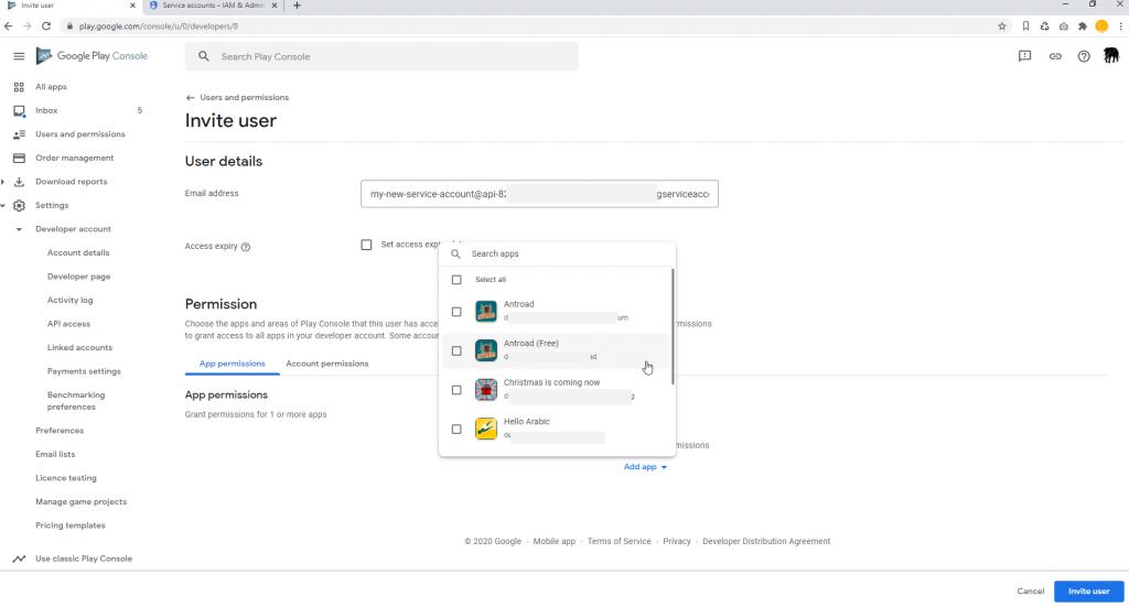Set Google Play Access App Permissions