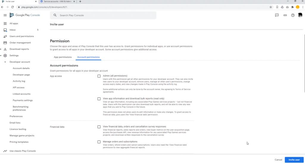 Set Google Play Access Account Permissions