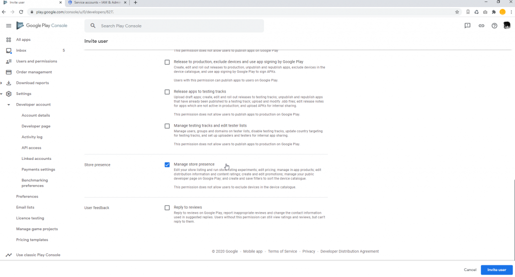 Set Google Play Access Set Permissions