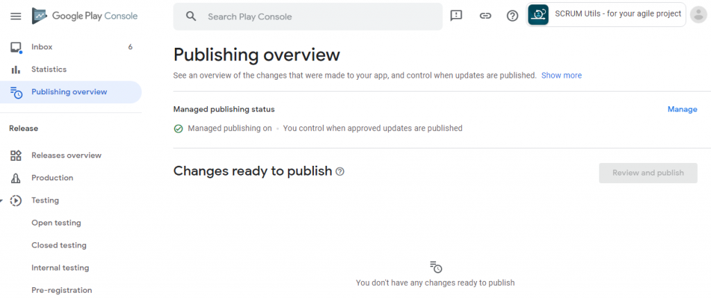 Manage Publishing Overview